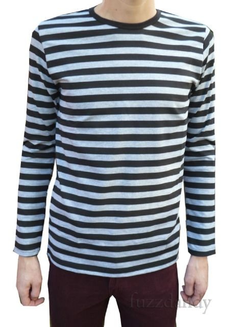 6c03fe14ec Mens Longsleeved Striped Tee Shirt Top - Grey & Black Stripes .